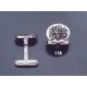 118 Solid Silver Cufflinks with Byzantine Monogram