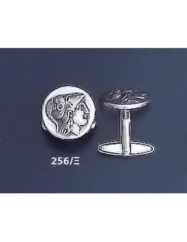 256/X Helmetted Goddess Athena Silver Cufflinks