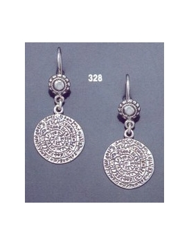 328 Sterling silver Phaistos disc earrings