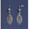 610 Exquisite Grecian Solid Silver Leaf Earrings
