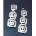 828 Large faceted 'Ionic' Greek-key motif earrings