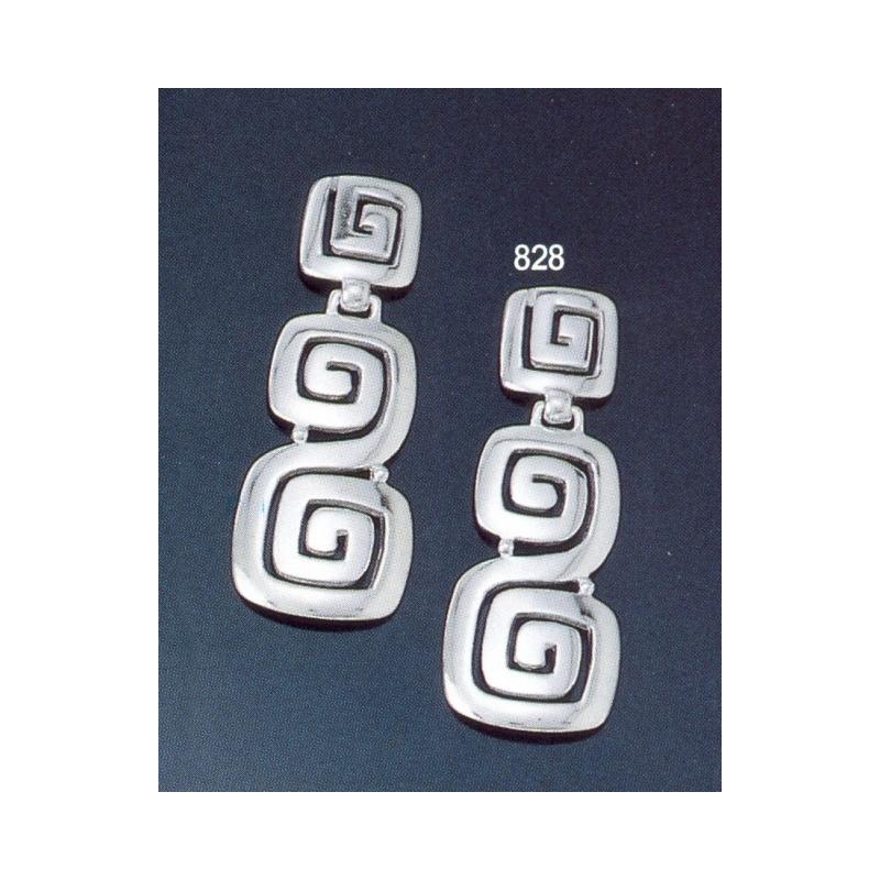 828 Large Faceted Ionic Greek Key Motif Earrings