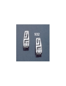 932 Oval tear-shaped hoop maeander greek key earrings