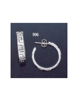 996 Greek key maeander hoop earrings