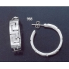 998 Greek key maeander pattern hoop earrings (L)