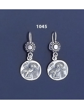1045 Wise Owl silver tetradrachm coin earrings