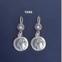 1046 Goddess Athena Silver Coin Earrings