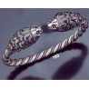 160 Hand-Coiled Double Headed Lion Torc Bracelet