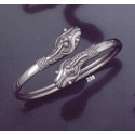 239 Double headed ornate sterling silver snake-heads bracelet