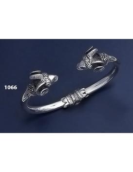 1066 Silver Ram torc Bracelet