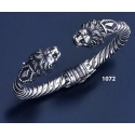 1072 Hand-coiled Lion's head torc bracelet (L)