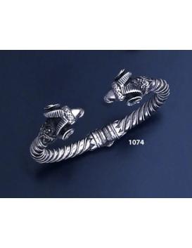 1074 Hand-coiled Ram's head torc bracelet (M)