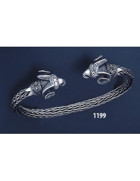 1199 Hand Braided Silver Ram Torc Bracelet