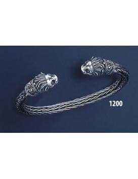 1200 Hand Braided Silver Lion Torc Bracelet