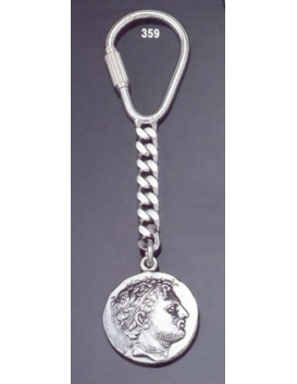 359 Silver Keyring with Perseus of Macedon tetradrachm coin