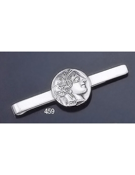 459 Sterling Silver Tie-Bar with Goddess Athena Coin