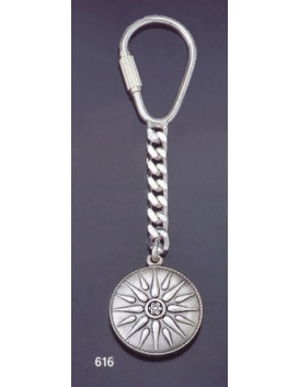 616 Silver Keyring with Macedonia Star / Sun / Starburst