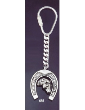 685 Silver Keyring with Horse Shoe & Horse's Head