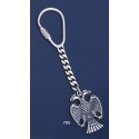 705 Silver Keyring with Thick Masonic Double-headed Eagle of Lagash