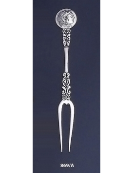 869/A Silver Carved Fork with Alexande the Great ( Hercules ) Coin
