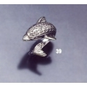 39 Large sterling silver dolphin torc ring