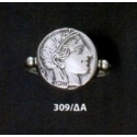 309/DA Archaic Athena sterling silver band ring