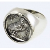 1130 Large Mens Owl of Wisdom chevalier coin ring XL