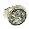 1132 Large Mens Chevalier Greek God Apollo coin ring XL