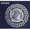 255/KA Greek Owl of wisdom brooch with Greek key pattern