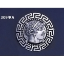 309/KA Sterling silver Athena tetradrachm brooch with Greek key