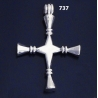 "737 XL Impressive Solid Sterling Silver Bar Cross """"3D"""""