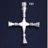 "737 XL Impressive Solid Sterling Silver Bar Cross """"3D"""""