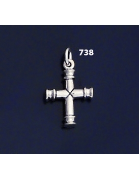 "738 Solid Sterling Silver Byzantine Bar Cross """"3D"""""
