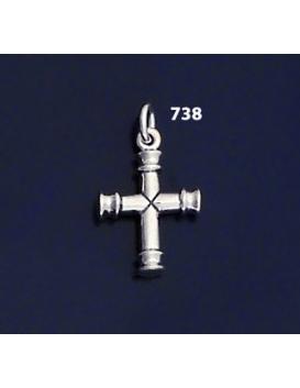 "738 Solid Sterling Silver Byzantine Bar Cross """"3D"""""