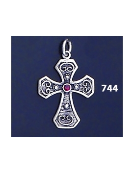 744 Double Sided Orthodox Baptism Silver Cross With Ruby & Emerald