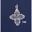 745 Double Sided Orthodox/Byzantine Baptism Silver Cross With Ruby & Emerald