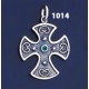 1014 Double Sided Orthodox/Byzantine Baptism Silver Cross With Ruby & Emerald