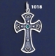 1018 Double Sided Orthodox/Byzantine Baptism Silver Cross With Ruby & Emerald