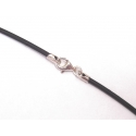 Black rubber chord with silver ends - 45 cm