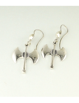 609 Sterling Silver Minoan Double Headed Axe Earrings