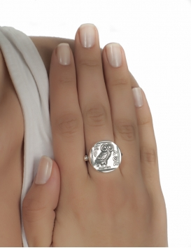 185 Owl of Wisdom silver greek wise owl ring