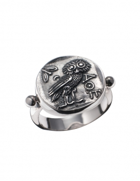 185/B Owl of Wisdom Sterling Silver Band Ring