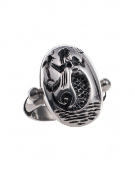 656 Ancient Greek Mermaid intaglio (seal) ring
