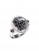 197 Sterling Silver Band Ring with Byzantine Monogram