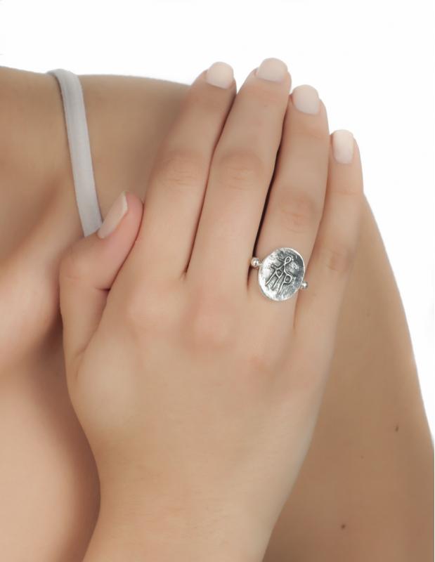 Greek Jewelry Shop | Byzantine monogram ring in sterling silver