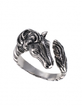 75S Sterling Silver Horse sculpture figurine ring (spiral shank)