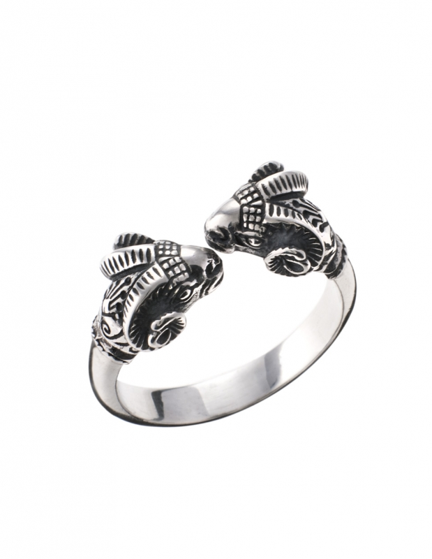 Greek Jewelry Shop - Rings -|Double headed Silver Ancient ram ring