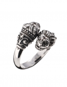 38/BD Silver Double Headed Lion Torc Ring