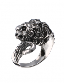 Large vintage antique style greek lion torc ring