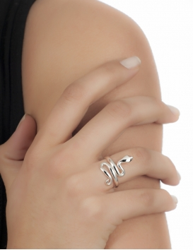 Greek rings for women silver snake goddess ring